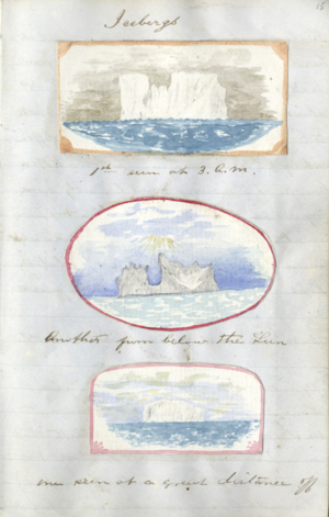 Icebergs from Log of Samuel Smith, 1857