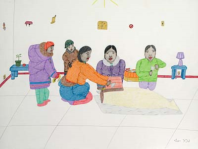 Eating Seal Meat, by Annie Pootoogook, 2007